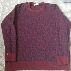 Loft Wine Navy Blue Crew Sweater Preppy Cheetah L